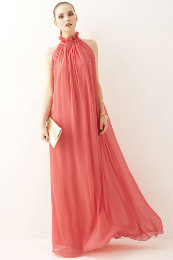 Watermelon Ruffled High Neck Chiffon Maxi Dress Chiffon Dress Womens Maxi Dresses Maxi Dress