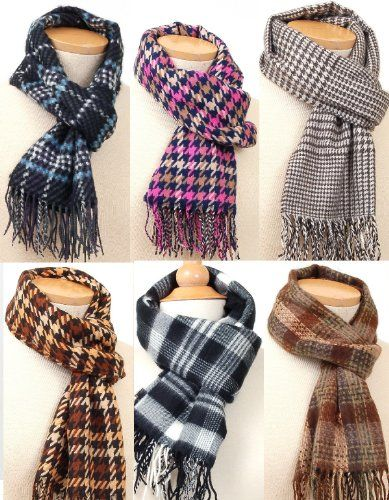 Elegant Fashion Scarf Soft Cozy Men's or Women's Winter Scarves in Plaid or Houndstooth Popular Patterns & Colors $22.50