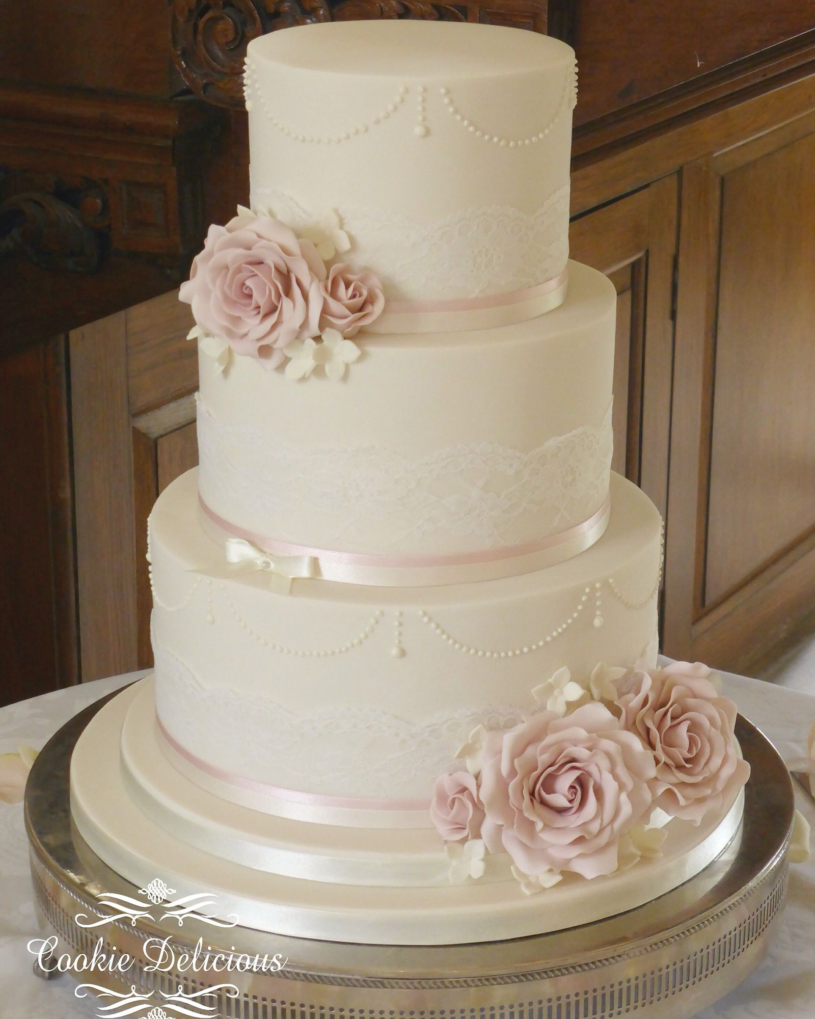 Vintage Ivory Dusty Pink Three Tier Wedding Cake With Lace - Dusty Pink Wedding Cake
