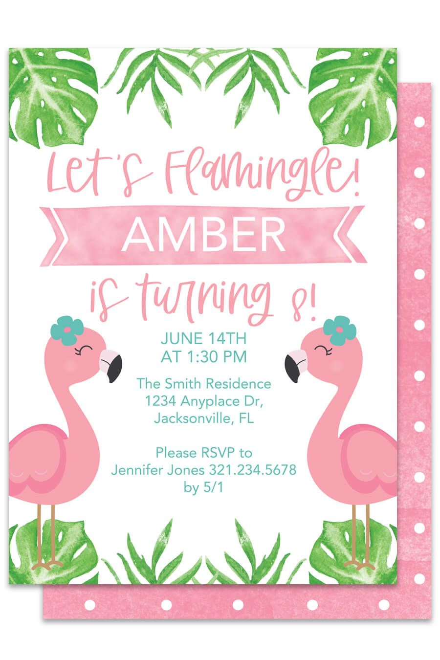Templates Paper & Party Supplies flamingo invitation template ...