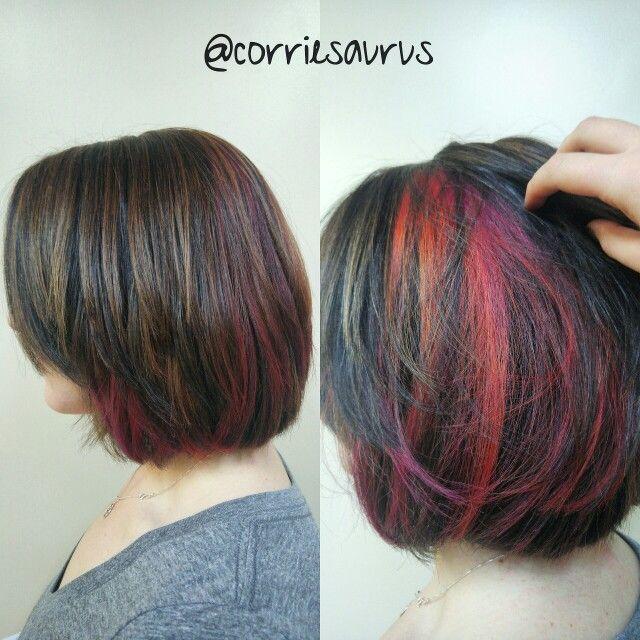 Hidden Fashion Colors Highlights Hair By Corrie Pinterest