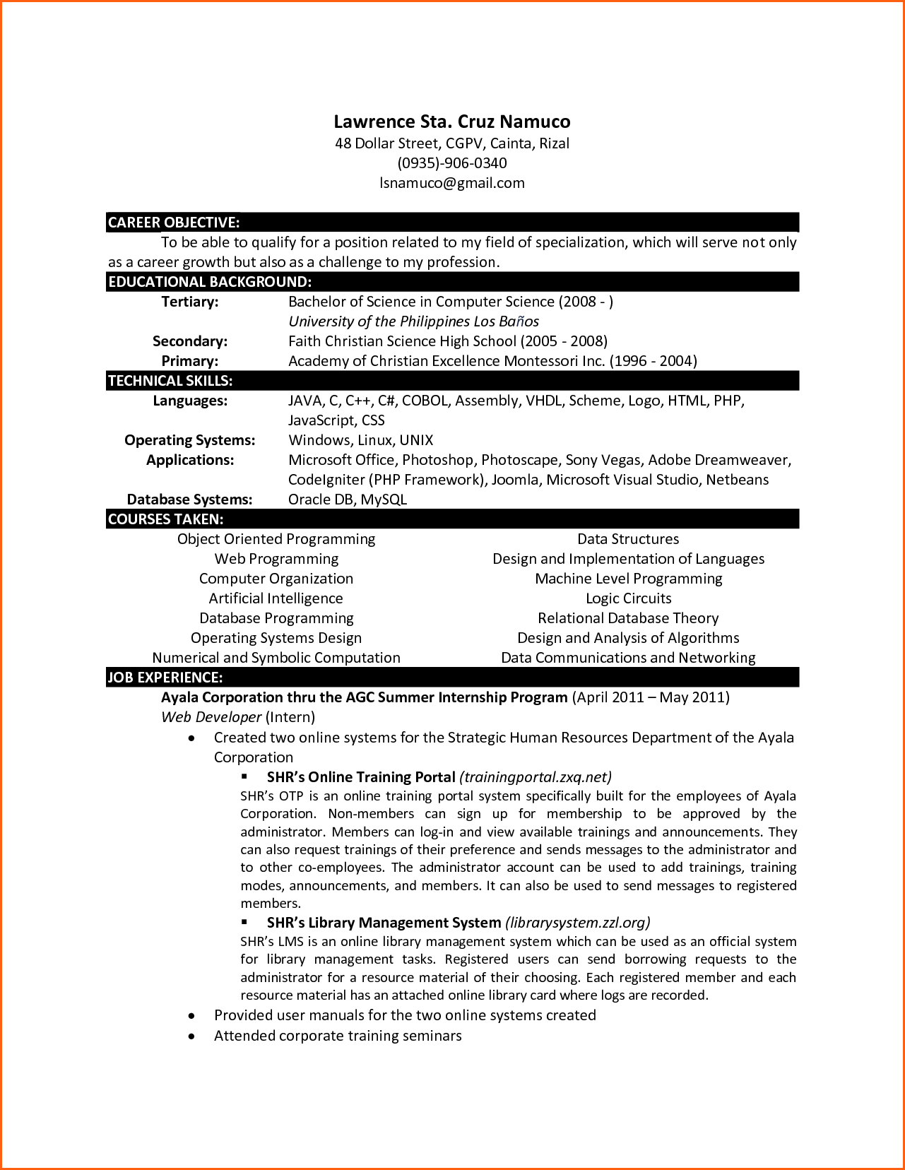 sample computer science resume - Sample Resume For Bcom Computers Freshers