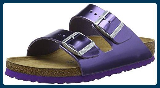 BIRKENSTOCK Damen Arizona Leder Softfootbed Pantoletten, Violett (Metallic Violet), 38 EU