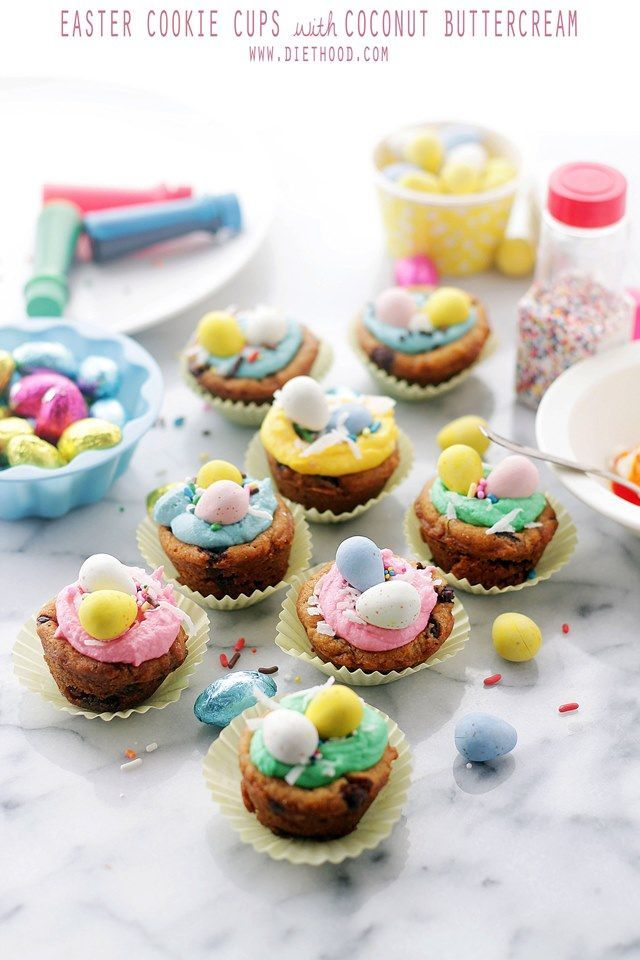 Easter Cookie Cups with Coconut Buttercream Frosting | http://www.diethood.com | Charming, colorful and bright Easter Cookie Cups filled with a sweet and luscious Coconut Buttercream Frosting. | #recipe #easter #buttercreamfrosting