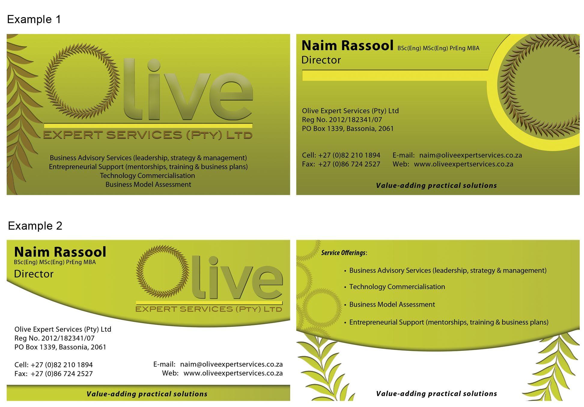 Olive Expert Services Business Card Designs Leadership