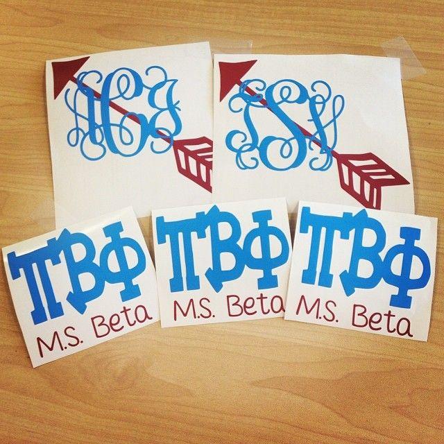 Pi Beta Phi monogrammed arrow cards #piphi #pibetaphi (MS Beta)