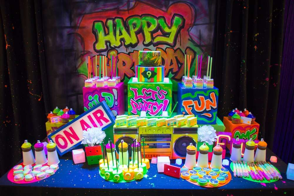 Astonishing Hip Hop Graffiti Glow In The Dark Party Birthday Party Ideas With Personalised Birthday Cards Petedlily Jamesorg