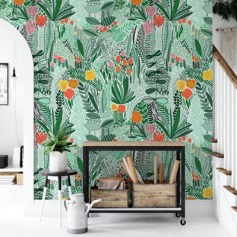Flower Wallpaper Self Adhesive Removable Wallpaper Floral Etsy Flower Wallpaper Removable Wallpaper Textured Walls