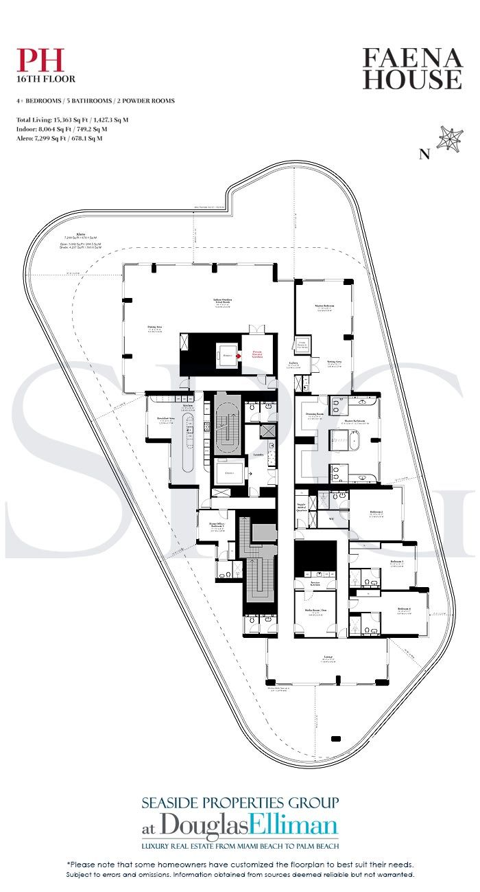 1 2 Penthouse Floorplans For Faena House Luxury Oceanfront Condominiums In Miami Beach Florida 33140 Faena House Floor Plans Oceanfront Condo