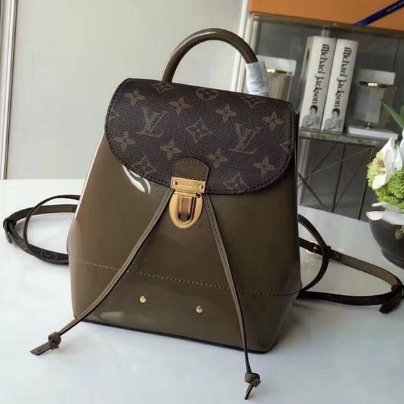 46abda5f0150 Louis Vuitton Hot Springs Backpack in Monogram Canvas Patent Leather Vert  Bronze M54389 2018