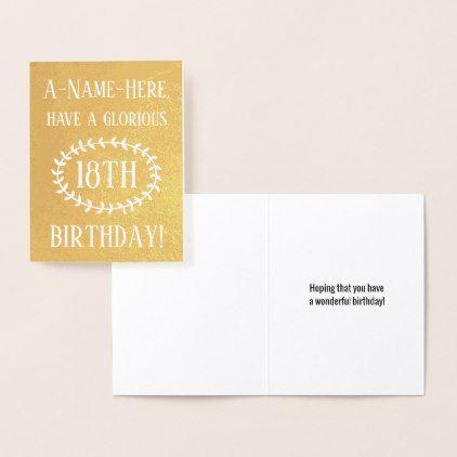 Plain gold foil 18th birthday greeting card birthday greeting cards m4hsunfo