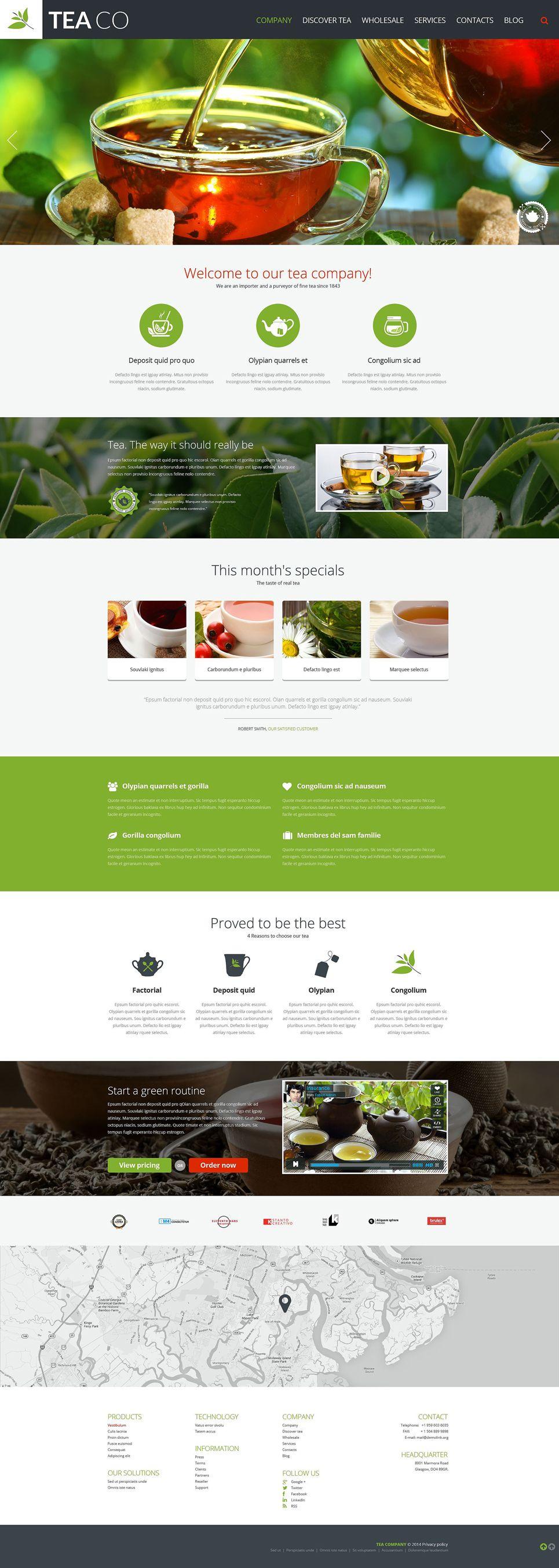 Tea Shop Responsive Website Template 52093 Website Template Food Web Design Responsive Website Template