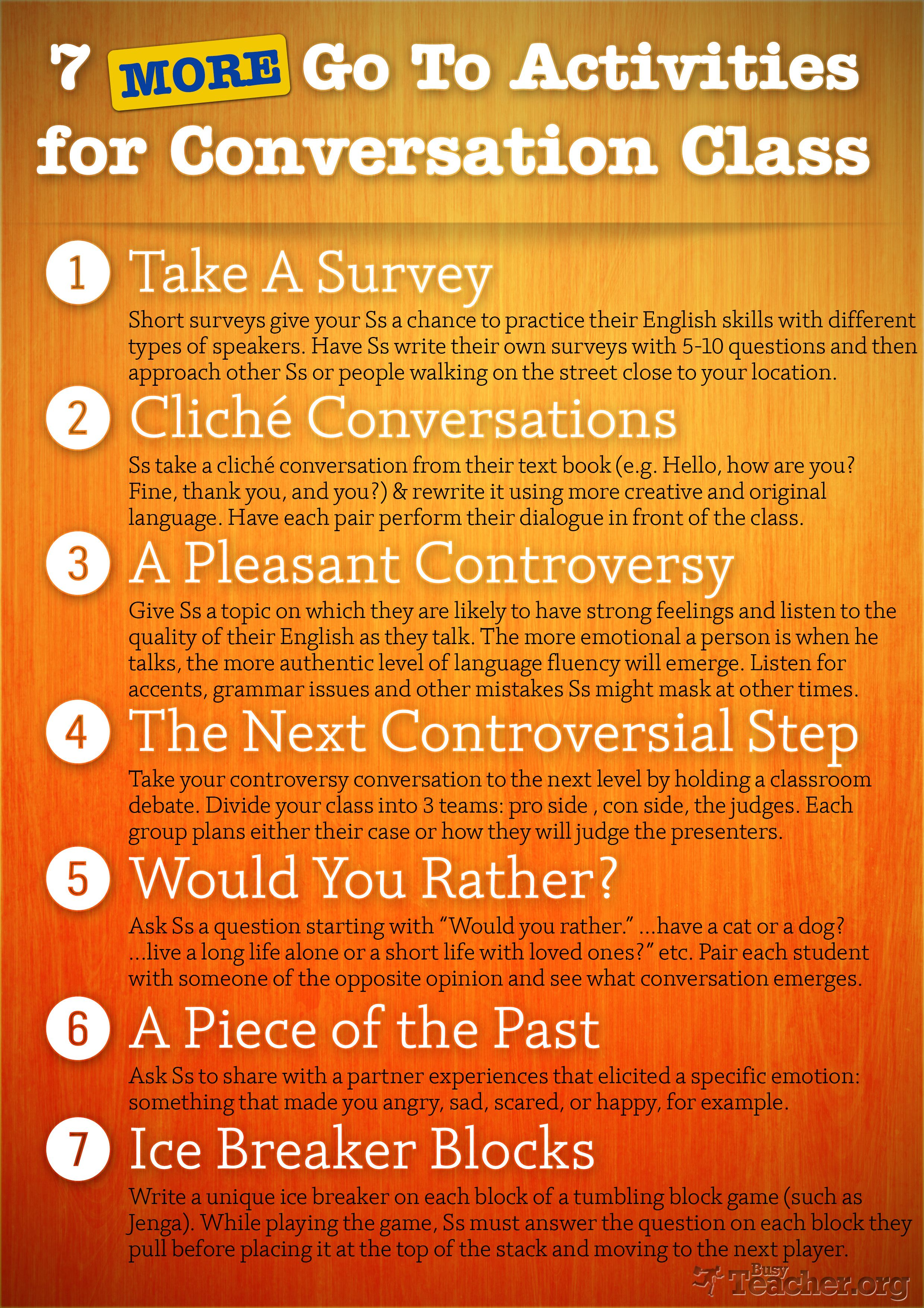 7 More Activities For Conversation Class