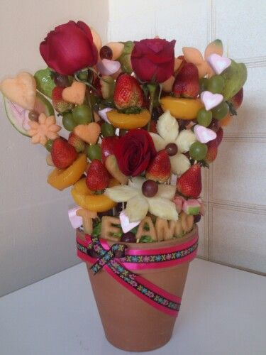 Arreglo de fruta en maceta decoracion fruta para fiestas for Secar frutas para decoracion