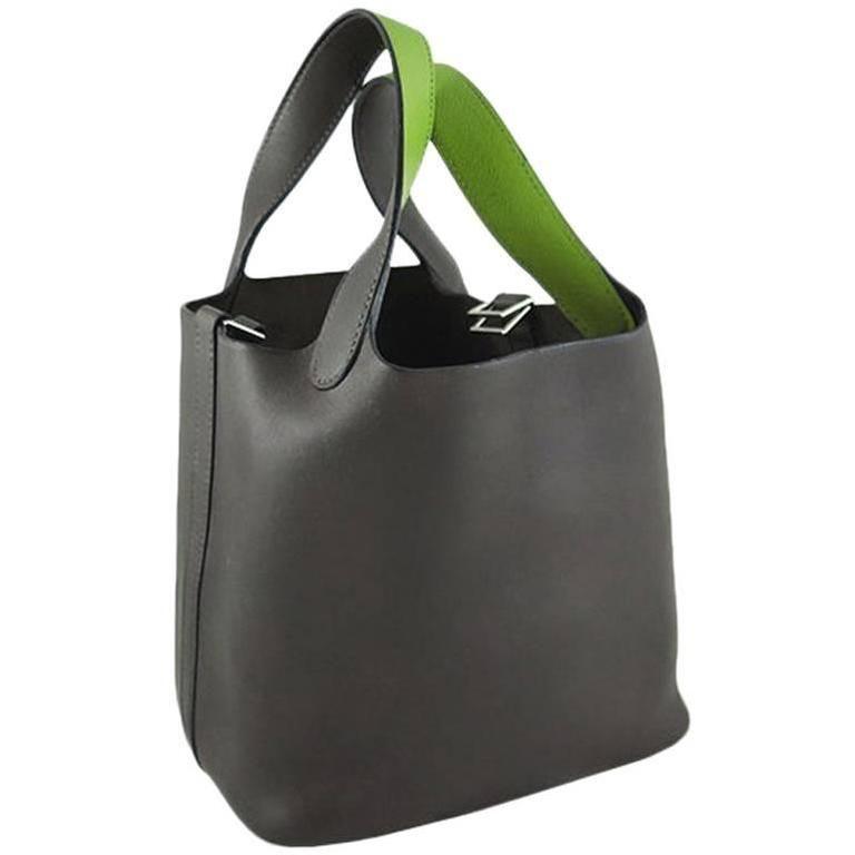 45d5f3e15a4 ... bag 1950s 60s lederer de paris black crocodile skin shopping hermes  picotin bicolour ebene vert anis chevre leather 416fb b8ac5 ...