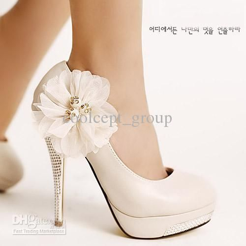 White High Heel Bridal Shoes Lace Flower Wedding Dress Beaded Close Toe Lady