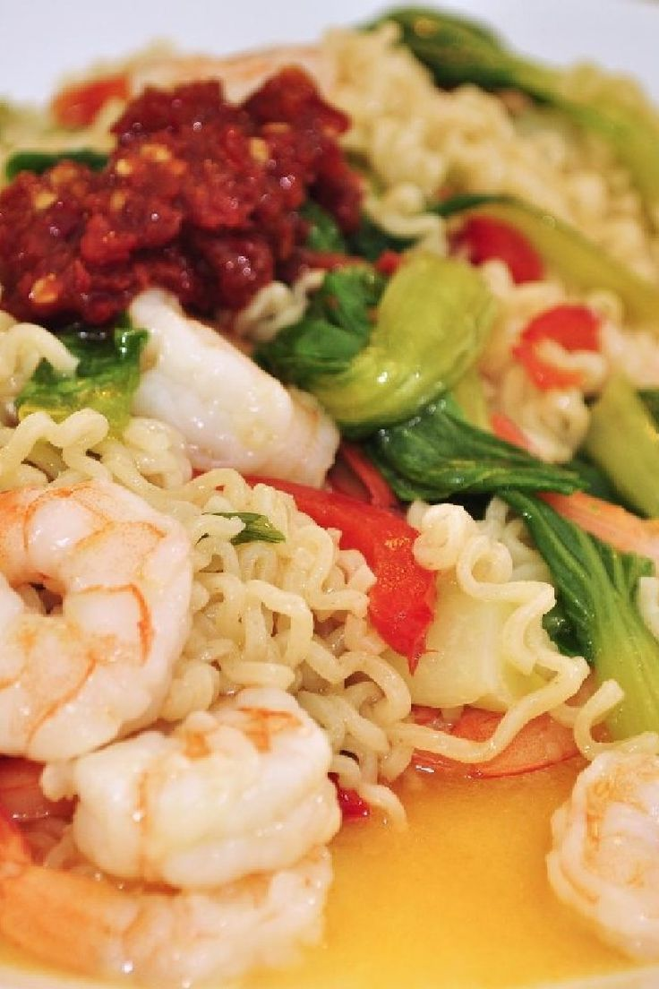 Spicy Shrimp and Bok Choy Noodle Bowl
