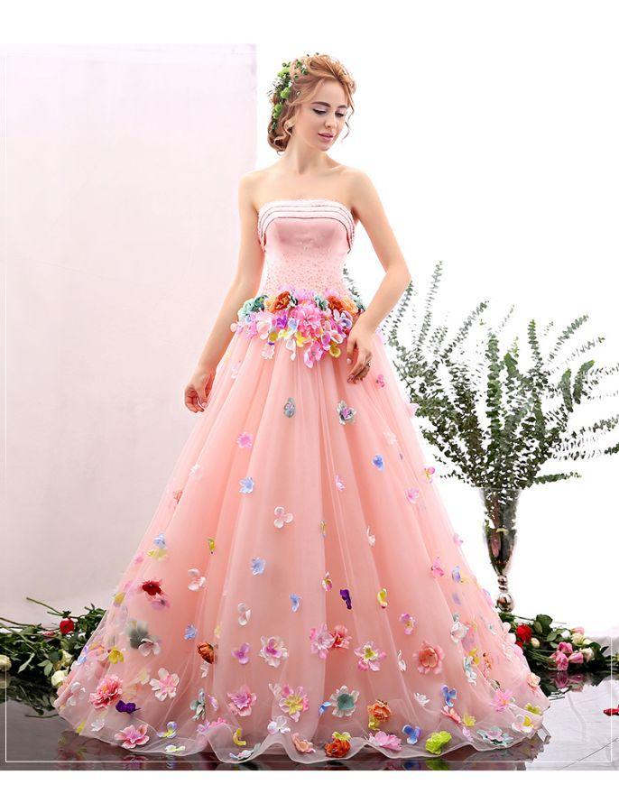 Romantic Strapless Floral Retro Prom Dress | MIS 15 | Pinterest ...