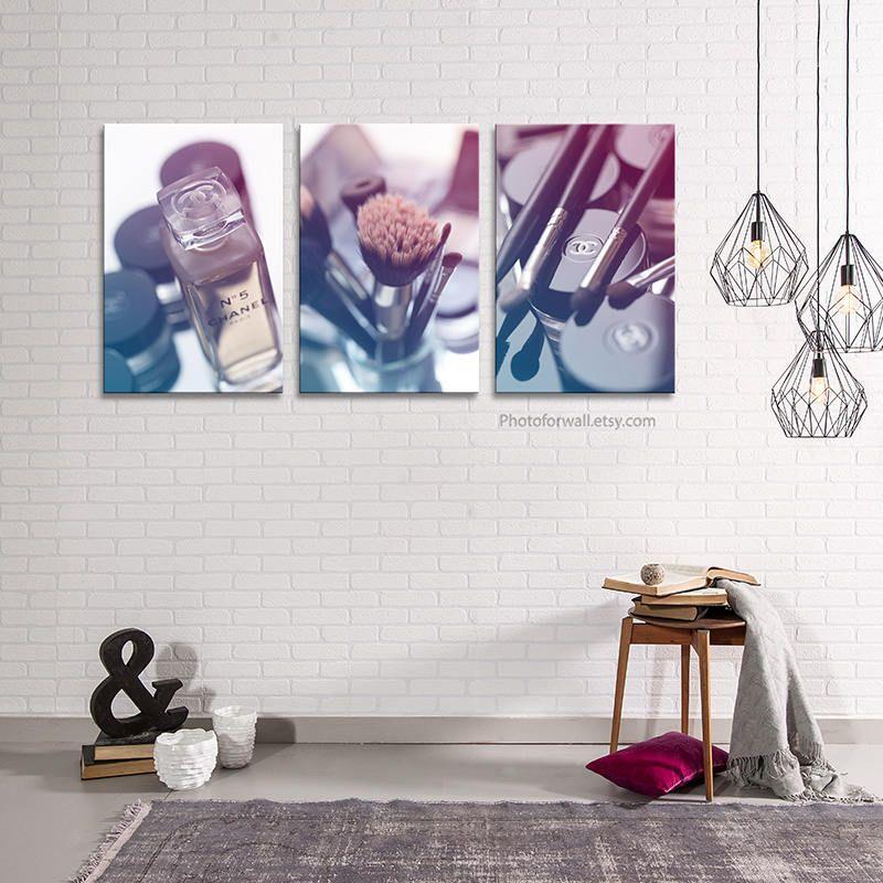 Chanel Bathroom Set/blue Chanel Photography/makeup Bathroom Decor/large  Canvas Art/