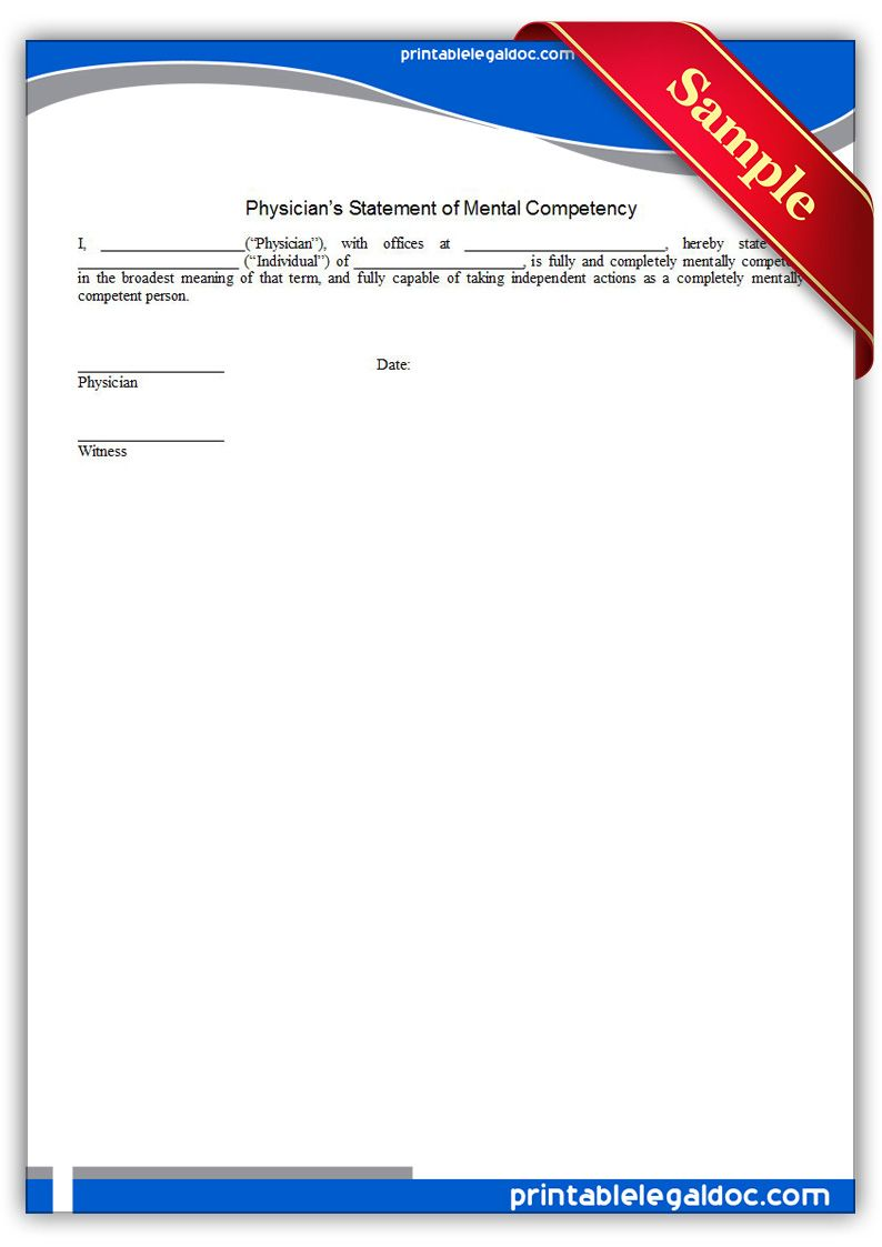 Free Printable Physicians Statement Of Mental Competency Legal