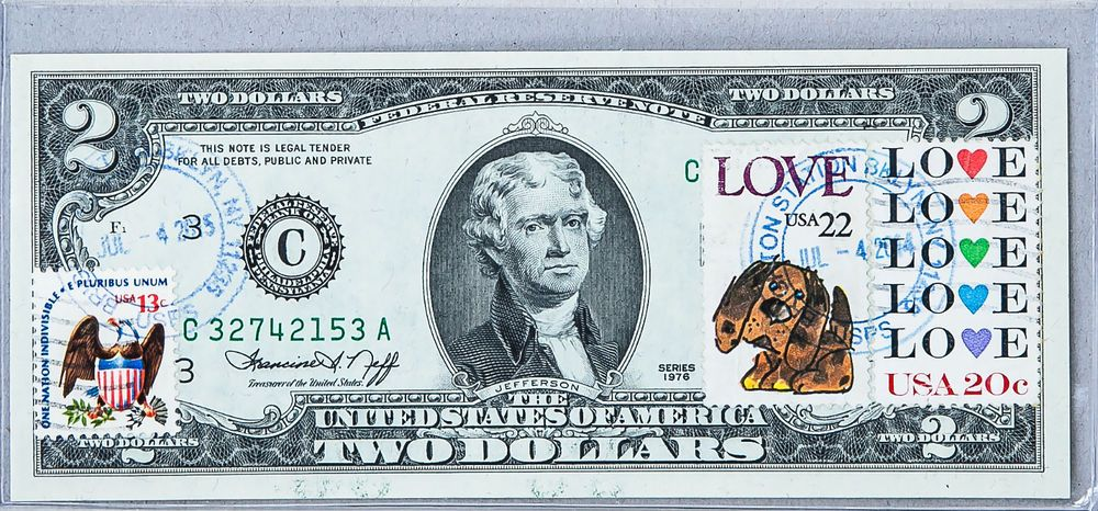 1976 Series 2 Dollar Bill Small Size US Paper Money Collection Present Stamp Toy