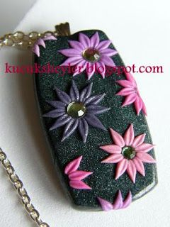♥ polymer clay / fimo, resin and card making work ♥: stone, flower necklace