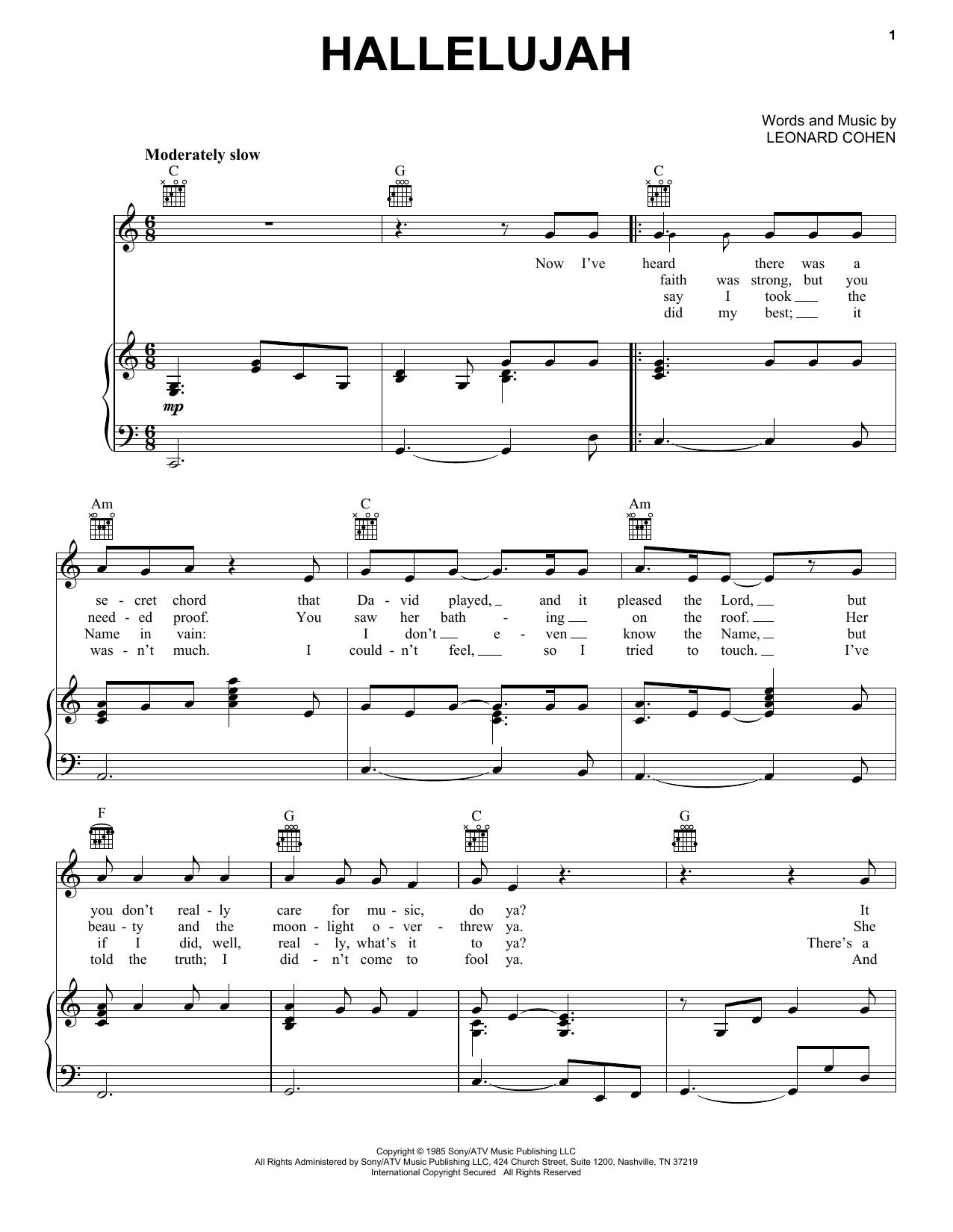 Leonard Cohen Hallelujah Sheet Music Notes Chords Download