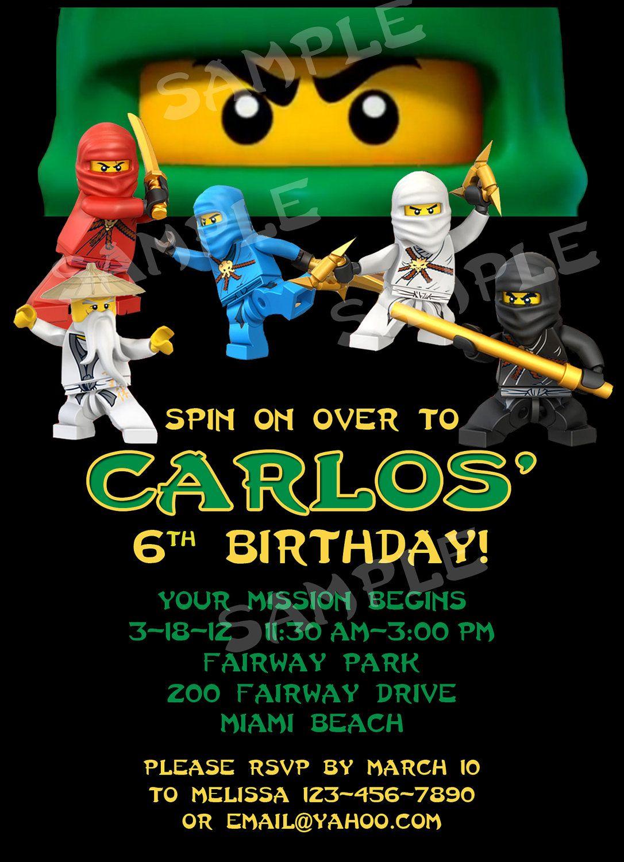 PRINTABLE Ninjago Birthday Invitation 4x6 or by modpoddesigns – Ninjago Birthday Invitations