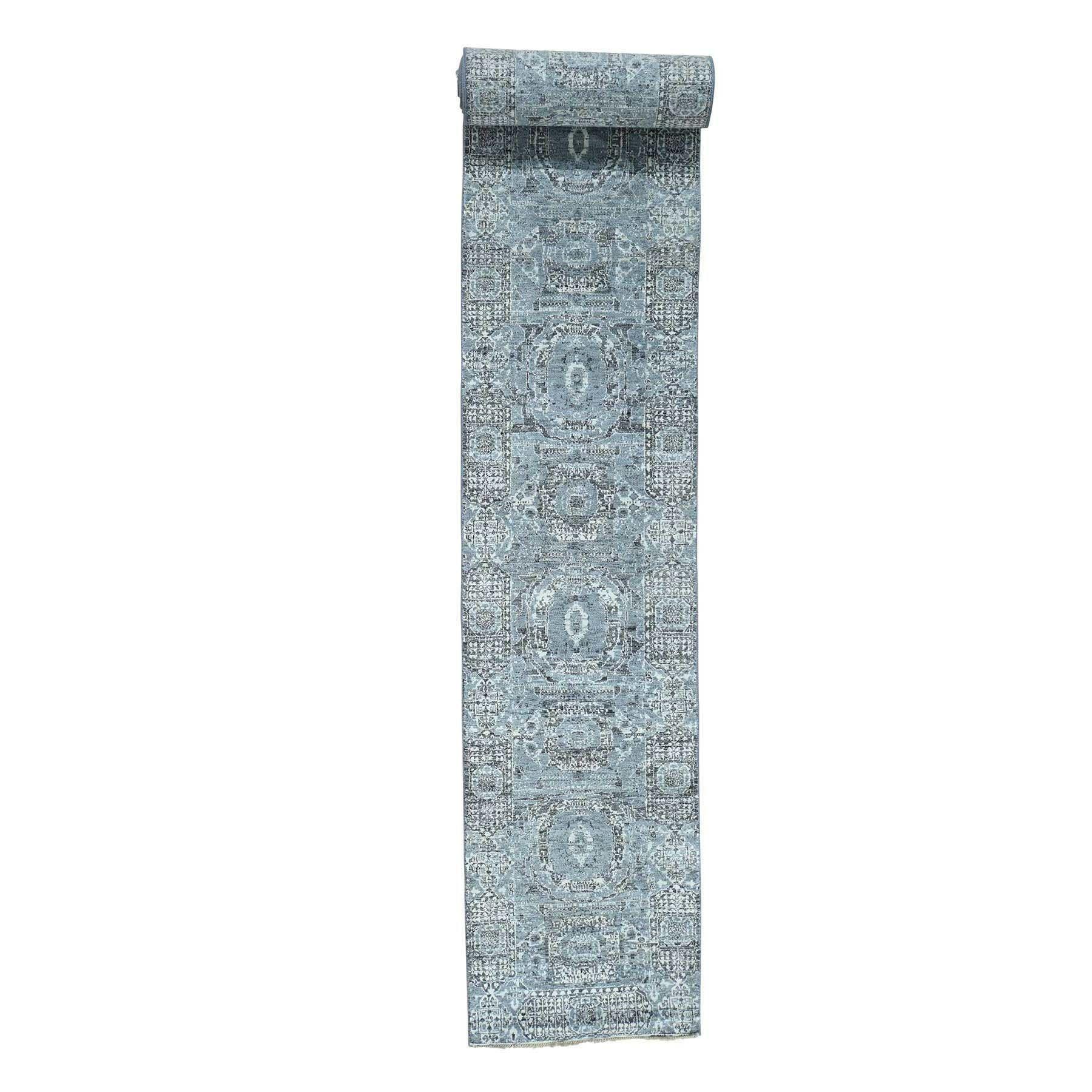 "1800getarug XL Runner Mamluk Design Undyed Natural Wool Hand-Knotted Rug (2'7x20'0) (Exact Size: 2'7"" x 20'0""), Blue"