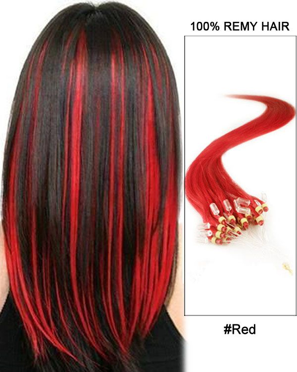 16 Red Straight Micro Loop 100 Remy Hair Human Hair Extensions 100