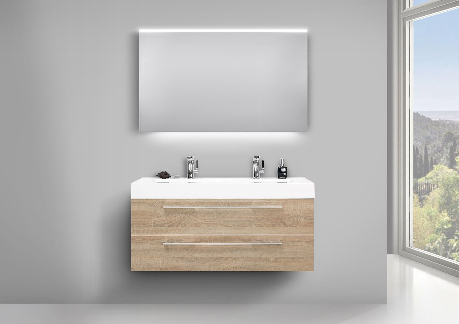 Designbaeder Com Unterschrank Badezimmer Set Doppelwaschtisch
