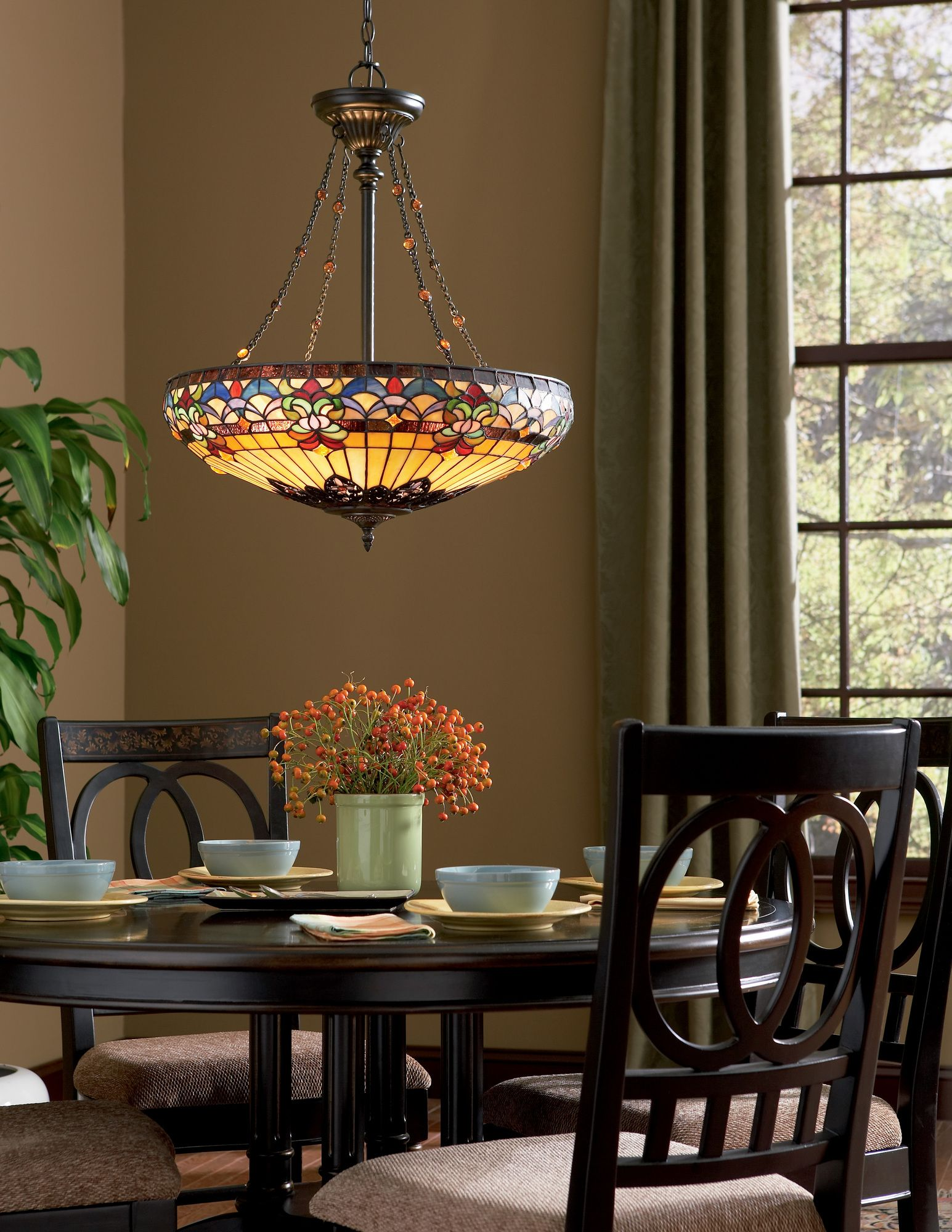 Quoizel Belle Fleur 4 Light Tiffany Inverted Pendant