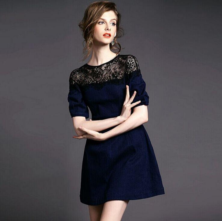 Dark Blue Jeans Dress Women Half Sleeve Lace Patchwork Flare Denim Dress