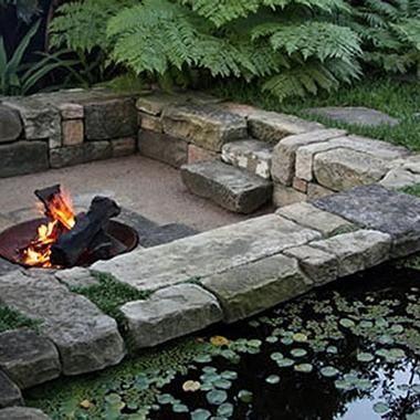 Sunken fire pit conversation pit add a koi pond next Sunken fire pit ideas
