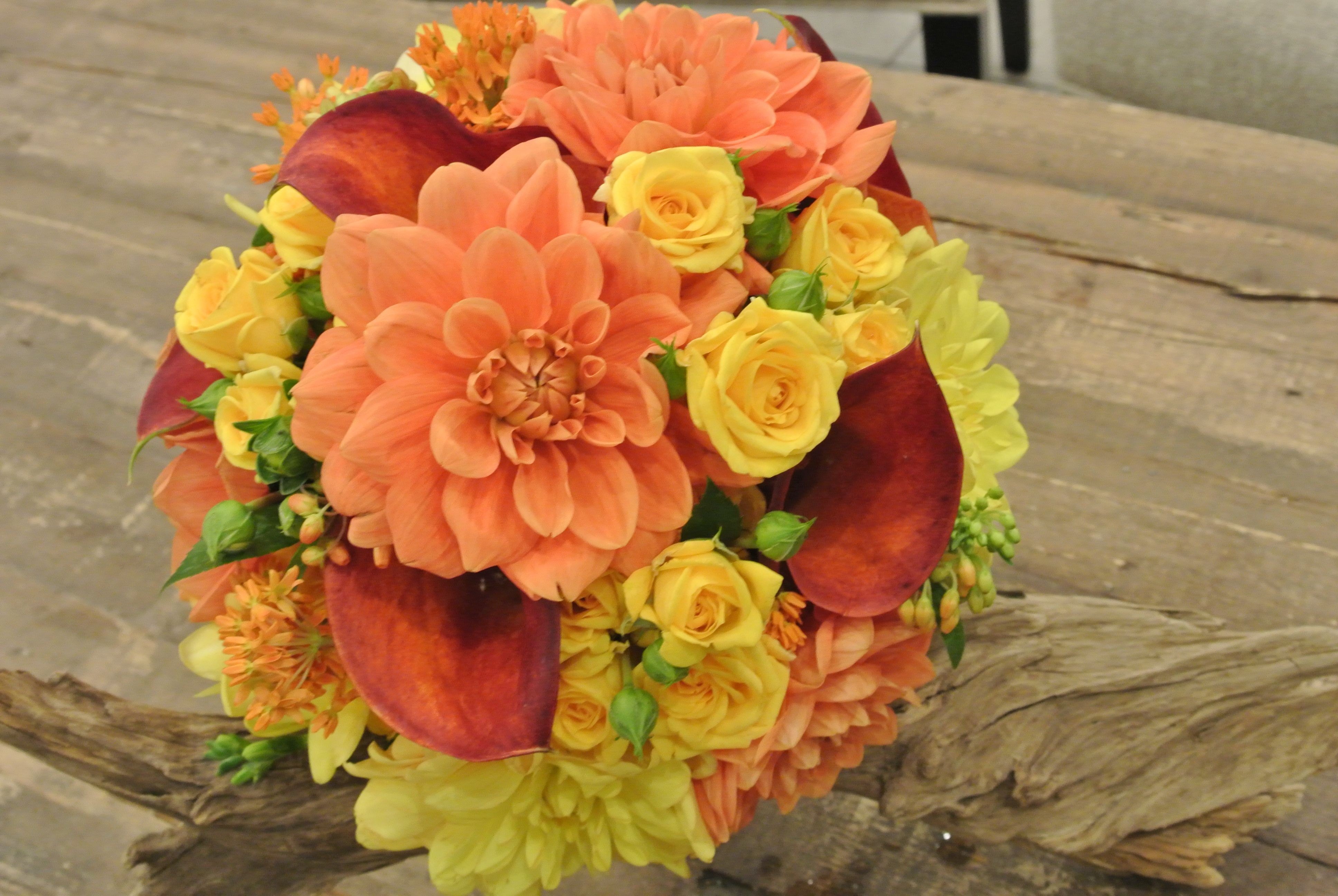 Bridal Bouquet With Dahlia Spray Roses Calla Lilies And Asclepias