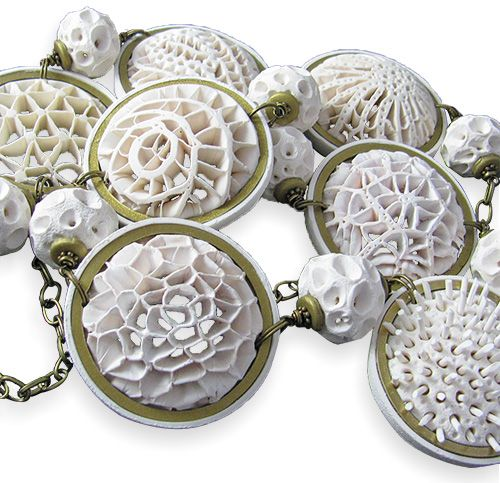 Maryland's Eugena Topina unveiled her Openwork tutorial back in October (here's the PCD post).  Now her cellular-like designs are winning prizes. Her Openwork Necklace won top prize in the polymer category at Bead Dreams 2015.