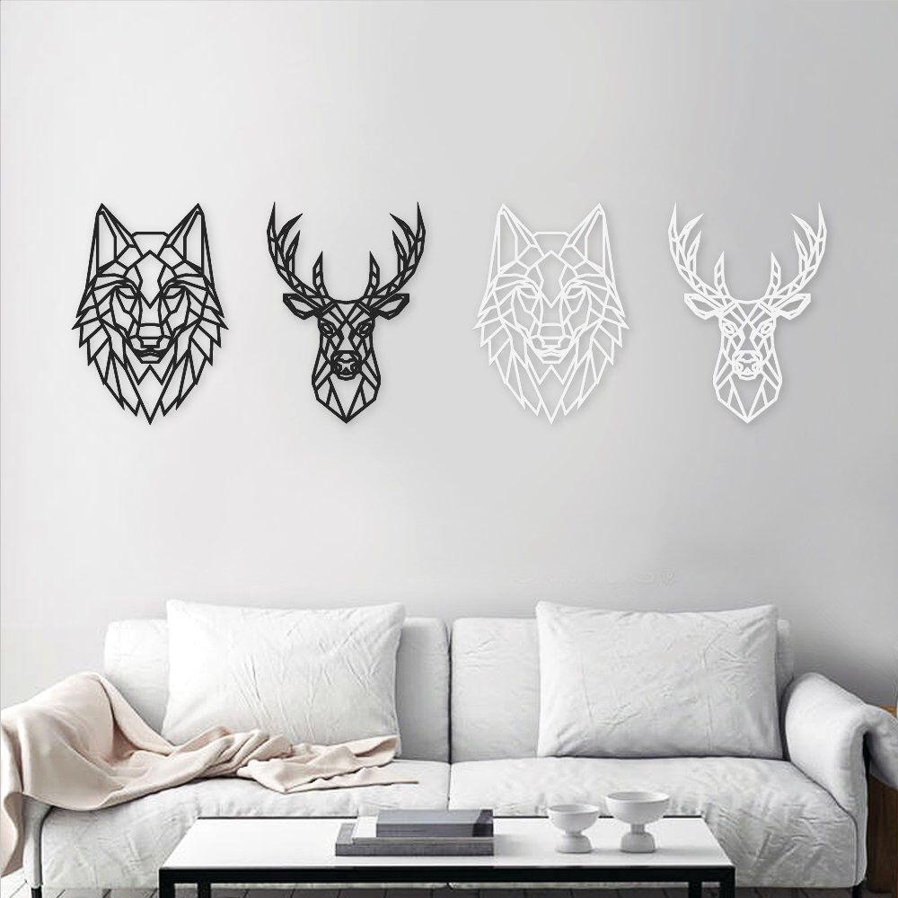 Stag Wolf Wall Art Geometric Animal Head Home Decor Etsy Geometric Animal Head Geometric Animals Wolf Wall Art