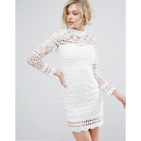 8530c8281a667 Club L Long Sleeve Crochet Detailed High Neck Dress ($36) ❤ liked on  Polyvore