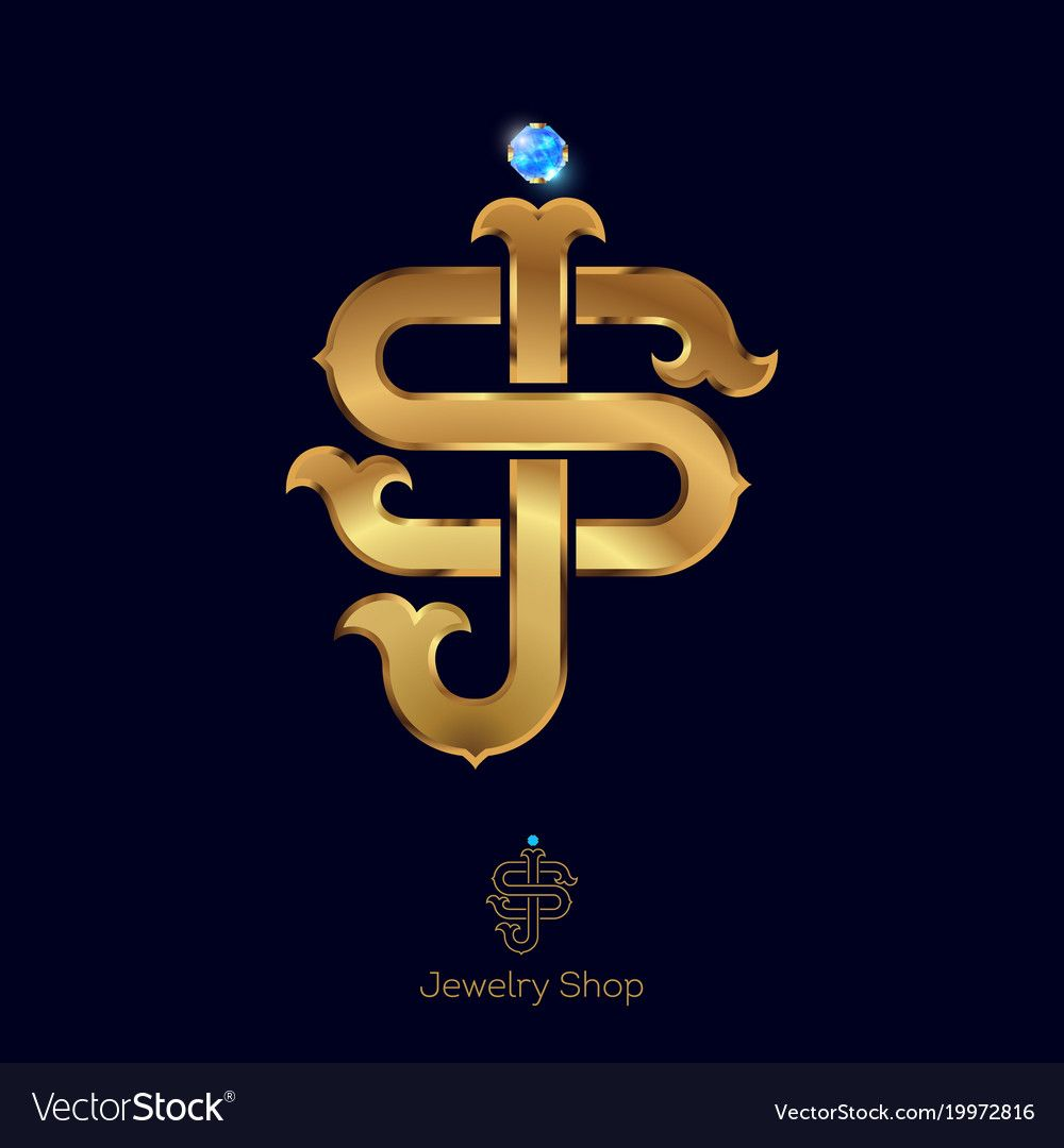 Initials S And J Logo Golden Letters Vector Image On