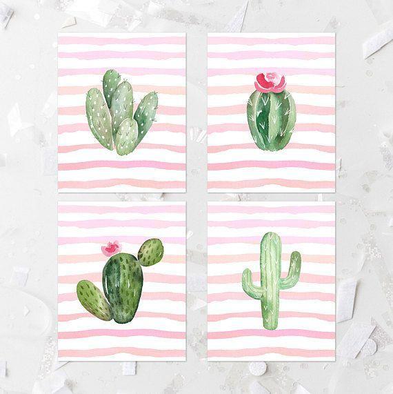 Cactus Printable Set, Succulent Nursery Wall Art, Gallery Wall, Girl Nursery Decor, Fiesta Party Decor, Kid's Room Wall Decor, Pink, Mint
