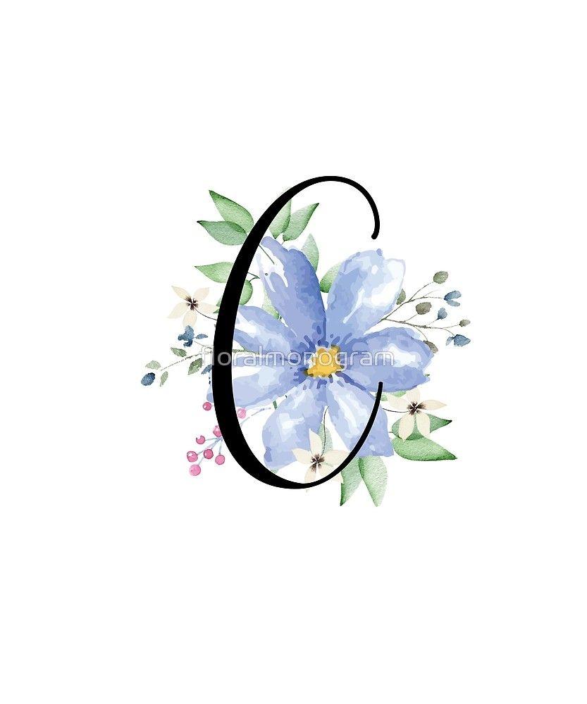 Monogram C Beautiful Watercolor Blue Flower Sticker By Floralmonogram Name Design Art Stylish Alphabets Monogram