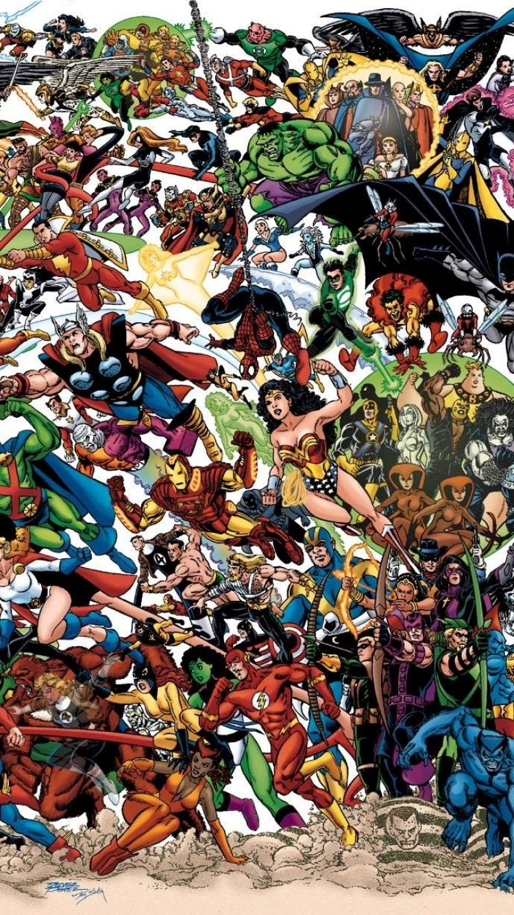 Collage - Apple/iPhone 6 - 750x1334 - 10 Wallpapers | DC/Marvel Crossover