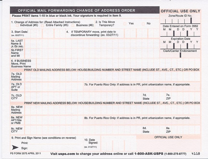 United States Postal Service Change Of Address Form  Great Design