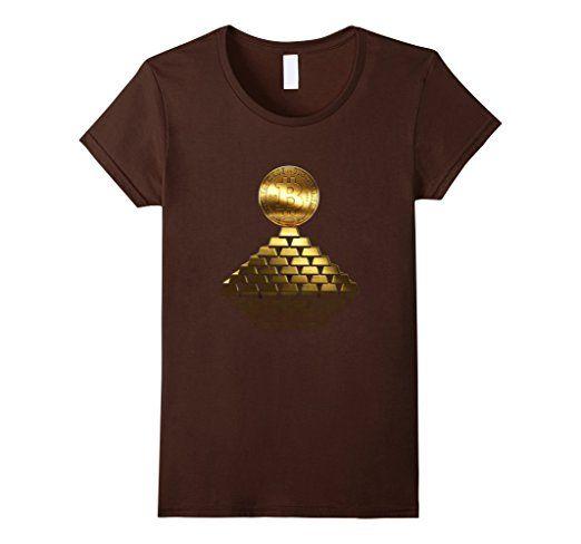 Bitcoin Tops Gold T Shirt Damen, Größe S Braun