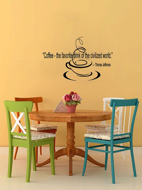 Vinyl Decals Coffee Jefferson Quote Home Wall Decor Removable ...