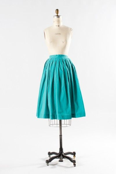 Vintage 1950s Green Skirt | Watermelon Rind | The Paraders