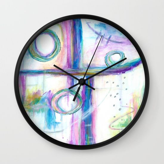 Just the Three of Us, Abstract Art Painting, Wall Clock