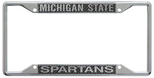 michigan state spartans metal license plate frame with carbon fiber design - Michigan State License Plate Frame