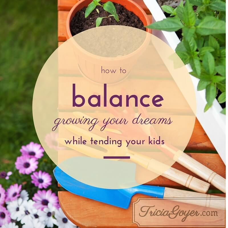 "How to Balance Growing Your Dreams While Tending Your Kids by Tricia Goyer (Featured on Raising Clovers) --Do you have dreams and talents that you'd like to see develop? Have you always wanted to write a book, or host radio show, or run your own business but you are waiting until ""after""? Check out this post by Tricia to hear what her thoughts are. Not to be missed!"