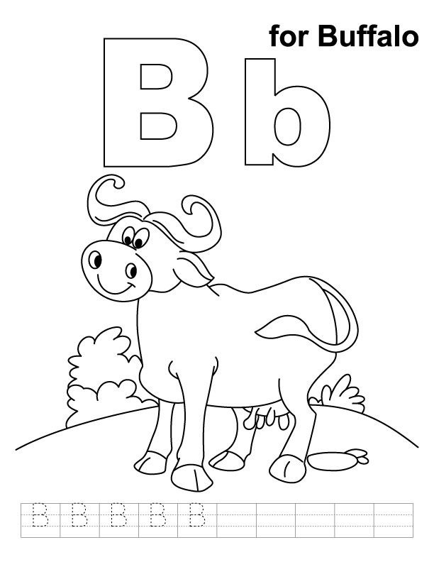 B For Buffalo Coloring Page With Handwriting Practice Coloring